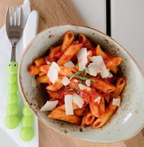 Tasty 'Little Pups' menus including tomato and basil penne pasta