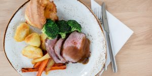 Traditional garlic and thyme roasted West Country beef with Yorkshire Pudding