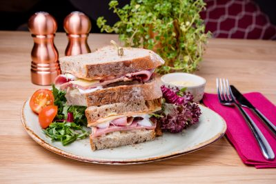 Ruebens salt beef with sauerkraut deli sandwich