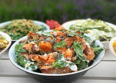 Roast butternut squash and spinach salad