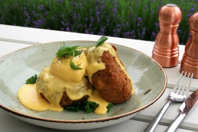 The Grange salmon, cod and brocolli cakes with poached egg and hollandaise