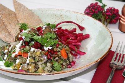 Summer grilled lamb kofta with quinoa tabbouleh