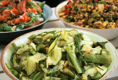 Runner bean, courgette and samphire salad