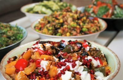 Roasted pepper, grilled aubergine and cracked Freekeh salad