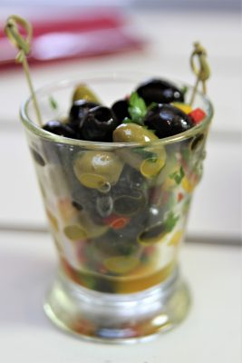New appetisers including marinated olives with garlic, thyme and rosemary