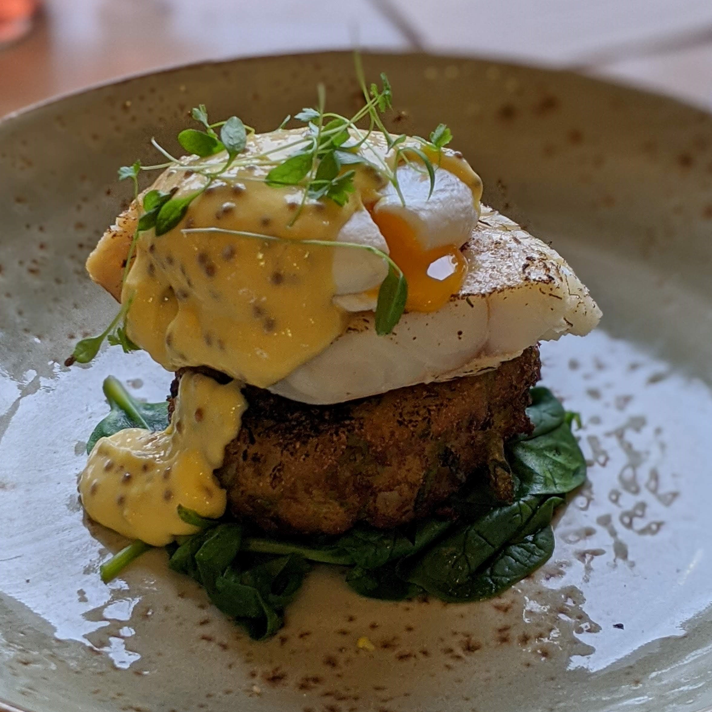 The Grange smoked haddock bubble & squeak with soft poached egg. spinach and wholegrain mustard hollandaise