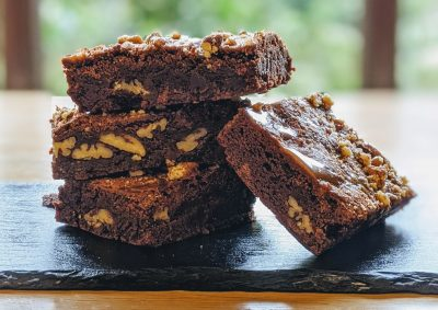 Warm salted caramel and pecan brownie - gluten free and vegan