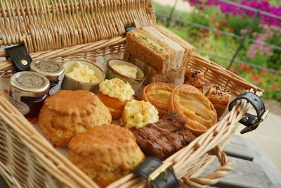 Afternoon Tea for Two served in a pretty hamper