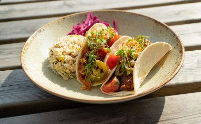 Slow cooked BBQ Pork and Beef tacos