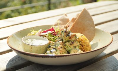 Marinated chicken skewers with chilli and coriander